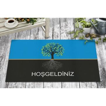 Hoşgeldiniz Ağaç Tasarım Kapı Önü ve Ev İçi Paspas 45x75 cm