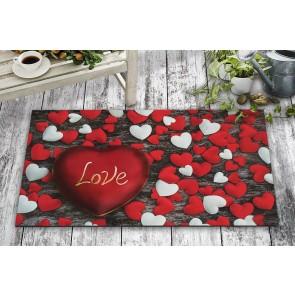 Romantik Love Kalp Tasarım Kapı Önü ve Ev İçi Paspas 45x75 cm