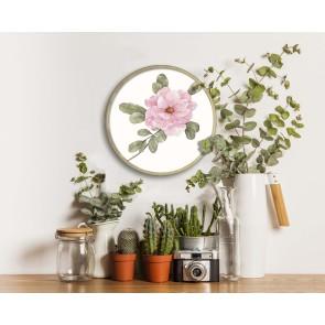 Pembe Çiçek Tasarım Ahşap Yuvarlak Pano 45cm