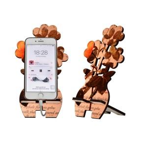 Çiçek Tasarım Ahşap Telefon Standı