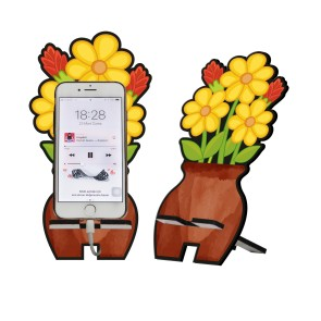 Sarı Çiçek Tasarım Ahşap Telefon Standı