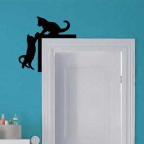 Kedi Tasarım Ahşap Dekoratif Kapı Süsü