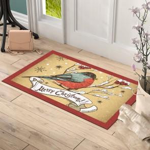 Christmas Kuş Tasarım Kapı Önü ve Ev İçi Paspas 45x75 cm