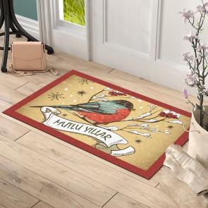 Mutlu Yıllar Kuş Tasarım Kapı Önü ve Ev İçi Paspas 45x75 cm
