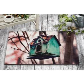Yeşil Kuş Kafesi Tasarım Kapı Önü ve Ev İçi Paspas 45x75 cm