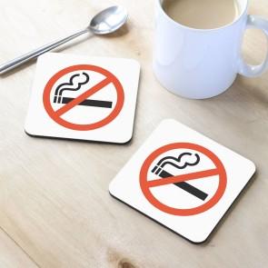 Sigara İçilmez Tasarım MDF Bardak Altlığı 10x10 cm