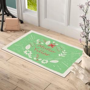 Mutlu Yıllar Yeşil Tasarım Kapı Önü ve Ev İçi Paspas 45x75 cm