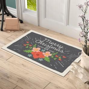 Çiçekli Merry Christmas Tasarım Kapı Önü ve Ev İçi Paspas 45x75 cm