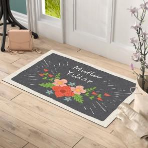 Çiçekli Mutlu Yıllar Tasarım Kapı Önü ve Ev İçi Paspas 45x75 cm