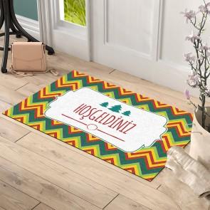 Zigzag Hoşgeldiniz Tasarım Kapı Önü ve Ev İçi Paspas 45x75 cm