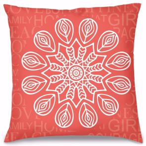 Kırmızı Mandala Tasarım Kırlent Yastık 40x40 cm