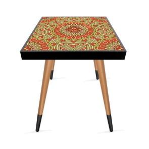 Turuncu Mandala Tasarım Modern Ahşap Yan Sehpa Kare 45x45 cm
