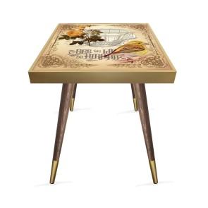 Vintage Kuş Tasarım Modern Ahşap Yan Sehpa Kare 45x45 cm