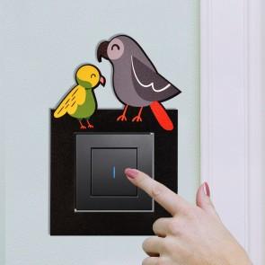 Sevimli Kuşlar Tasarım Ahşap Anahtar Priz Çerçevesi