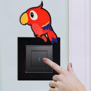 Papağan Tasarım Ahşap Anahtar Priz Çerçevesi