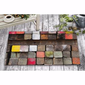 Renkli Tahtalar Tasarım Kapı Önü ve Ev İçi Paspas 45x75 cm