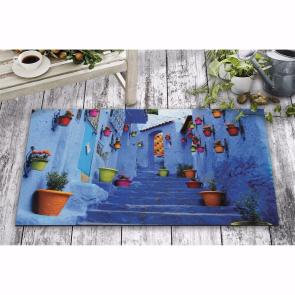 Mavi Sokak Manzara Tasarım Kapı Önü ve Ev İçi Paspas 45x75 cm