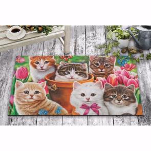 Şaşkın Kediler Tasarım Kapı Önü ve Ev İçi Paspas 45x75 cm