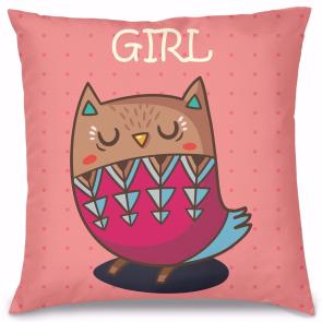 Girl Baykuş Tasarım Kırlent Yastık 40x40 cm