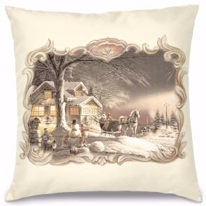 Vintage Kış Manzarası Kırlent Yastık 40x40 cm