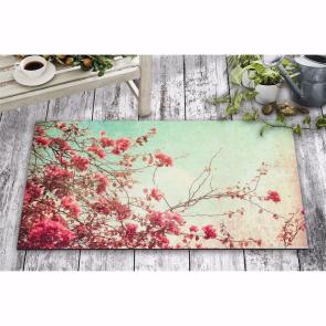 Kırmızı Çiçek Tasarım Kapı Önü ve Ev İçi Paspas 45x75 cm
