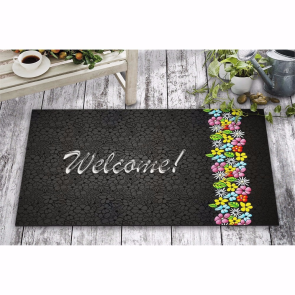 Çiçekli Welcome Tasarım Kapı Önü ve Ev İçi Paspas 45x75 cm