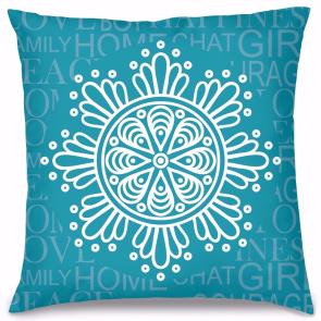Mavi Mandala Tasarım Kırlent Yastık 40x40 cm