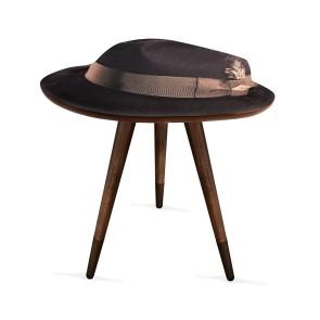Şapka Tasarım Baskılı Modern Ahşap Yan Sehpa 40x55 cm