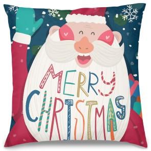 Merry Christmas Noel Baba Tasarım Kırlent Yastık 40x40 cm