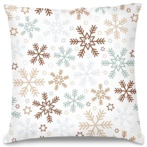 Kar Taneleri Tasarım Kırlent Yastık 40x40 cm