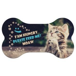 Hungry Cat Tasarım Baskılı Evcil Hayvan Mama Paspası