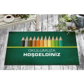 Okulumuza Hoşgeldiniz Tasarım Kapı Önü ve Ev İçi Paspas 45x75 cm