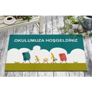 Okula Hoşgeldiniz Tasarım Kapı Önü ve Ev İçi Paspas 45x75 cm