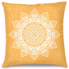 Sarı Mandala Tasarım Kırlent Yastık 40x40 cm