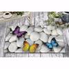 Renkli Kelebekler Taş Tasarım Kapı Önü ve Ev İçi Paspas 45x75 cm