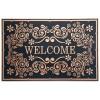 Welcome Barok Kapı Önü Paspas Halısız 45x70 cm Bronz