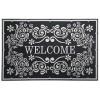 Welcome Barok Kapı Önü Paspas Halısız 45x70 cm Gümüş
