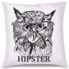 Hipster Baykuş Tasarım Kırlent Yastık 40x40 cm